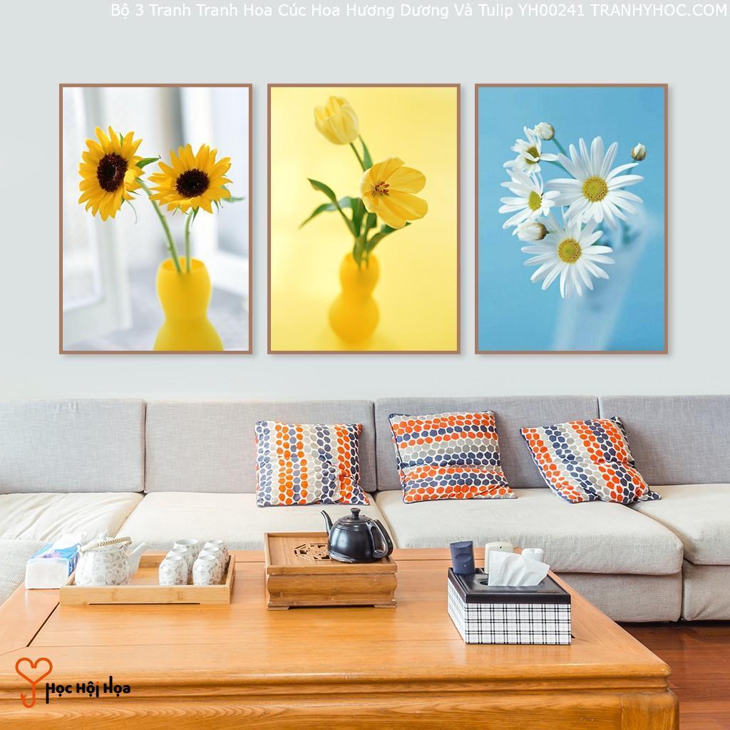 Bộ 3 Tranh Tranh Hoa Cúc Hoa Hương Dương Và Tulip YH00241