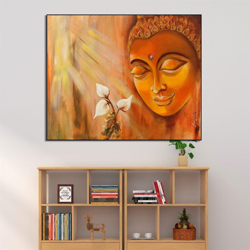 Tranh Ánh Sáng Soi Chiếu Tượng Phật Và Hoa YH00190