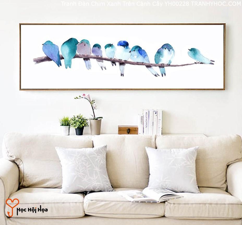 Tranh Đàn Chim Xanh Trên Cành Cây YH00228