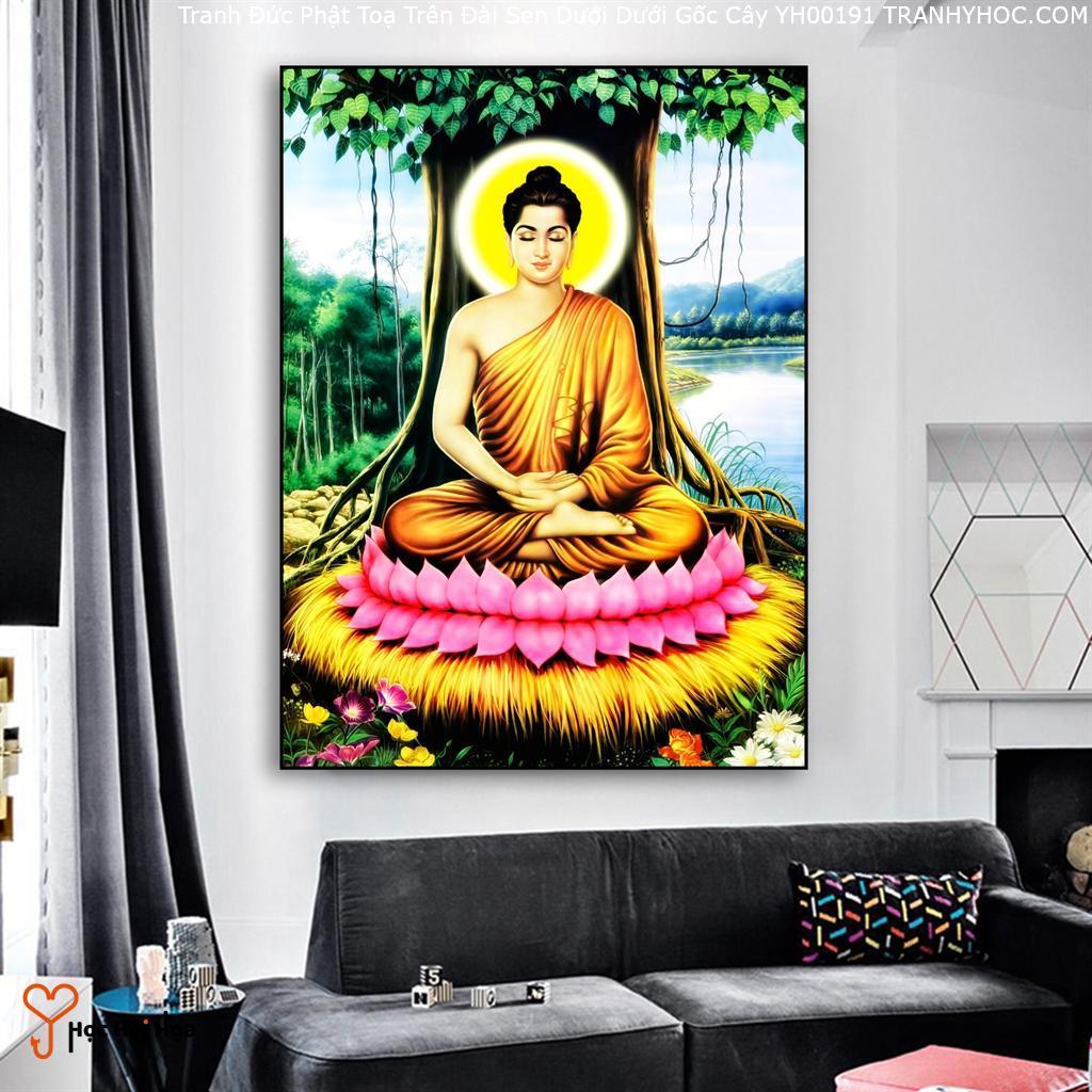 Tranh Đức Phật Toạ Trên Đài Sen Dưới Dưới Gốc Cây YH00191