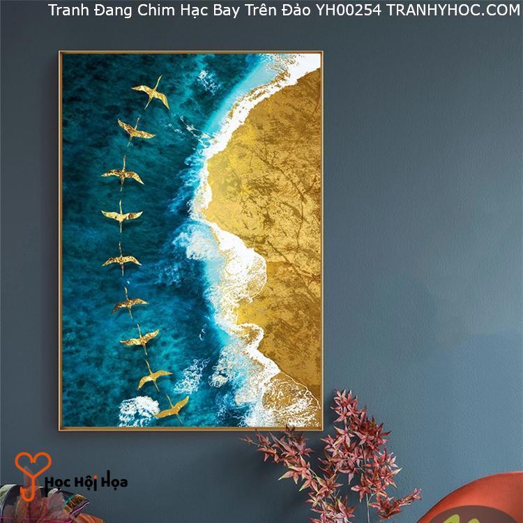 Tranh Đang Chim Hạc Bay Trên Đảo YH00254