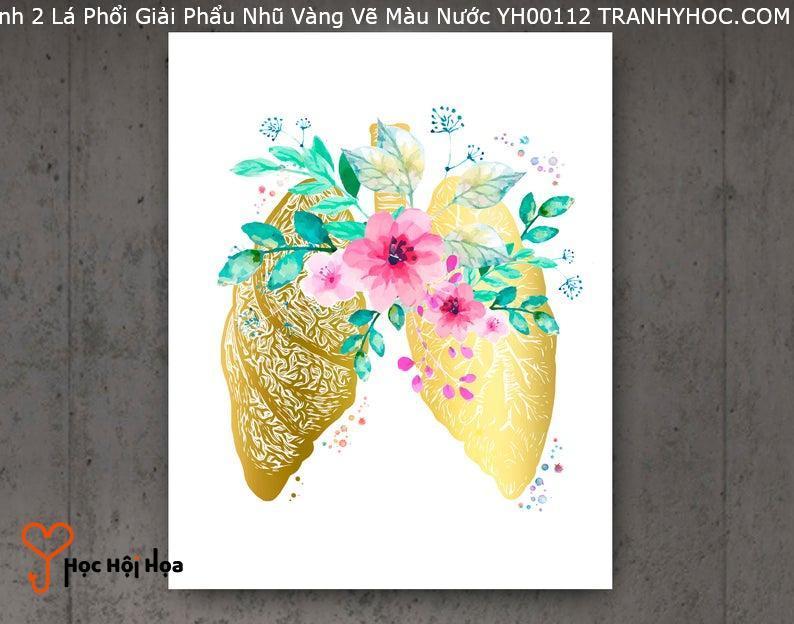 Tranh 2 Lá Phổi Giải Phẩu Nhũ Vàng Vẽ Màu Nước YH00112