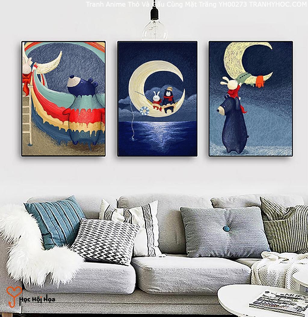 Tranh Anime Thỏ Và Gấu Cùng Mặt Trăng YH00273