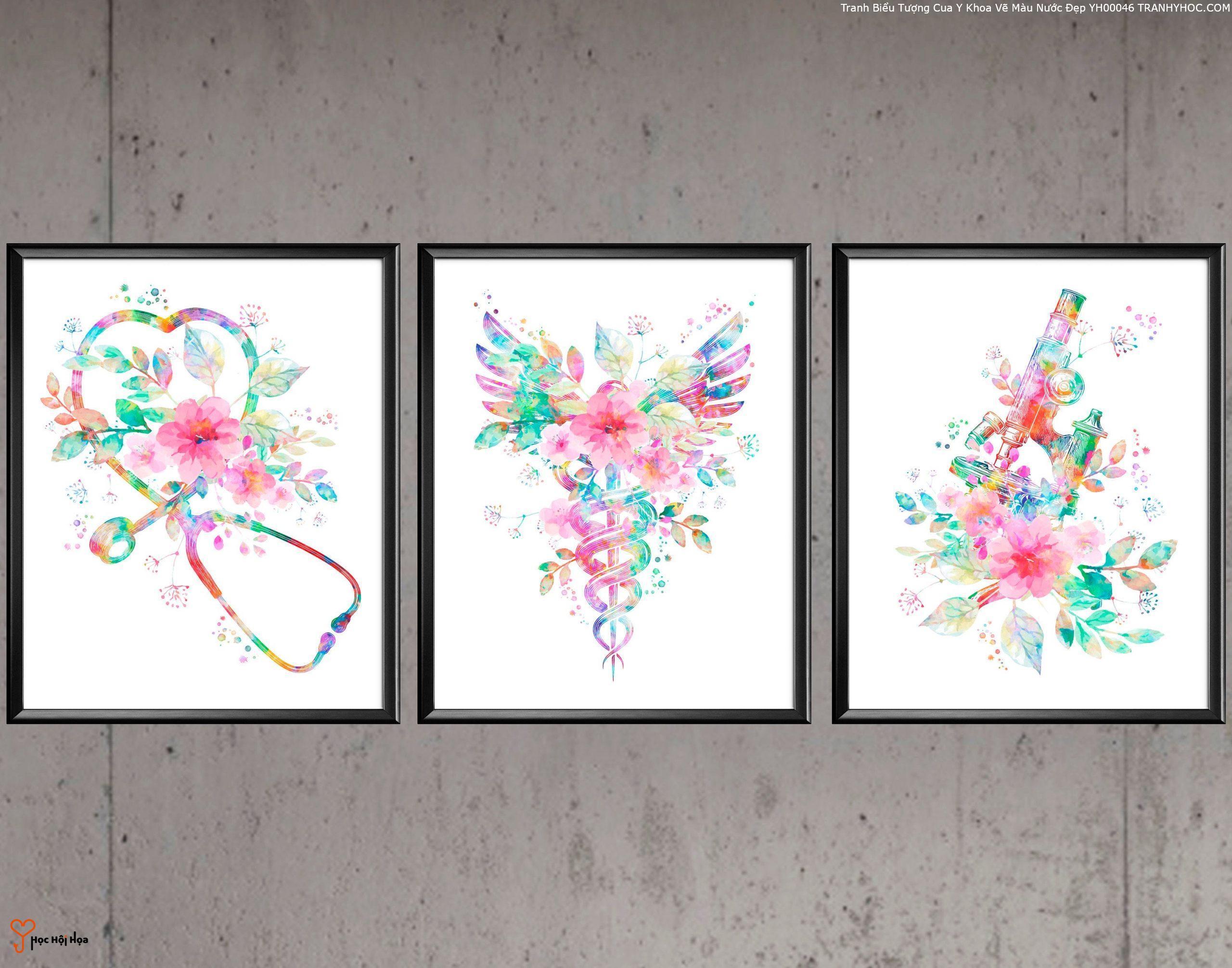 Tranh Biểu Tượng Cua Y Khoa Vẽ Màu Nước Đẹp YH00046