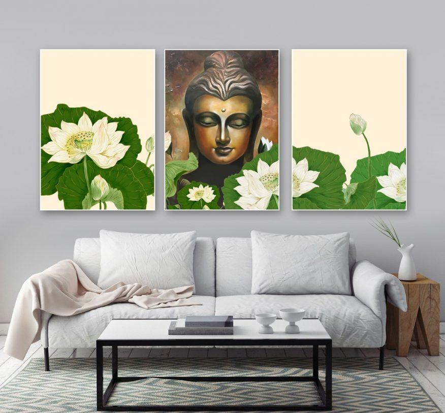 Tranh Canvas Đức Phật Bên Vườn Sen YH00192
