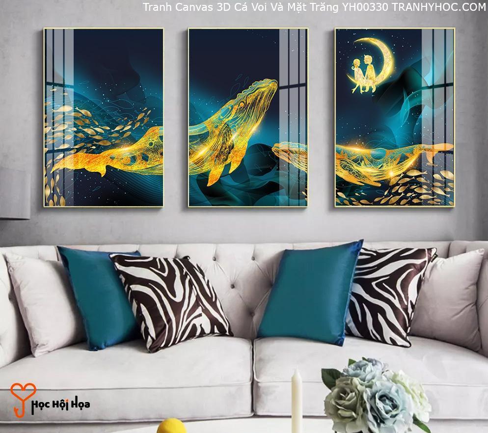 Tranh Canvas 3D Cá Voi Và Mặt Trăng YH00330