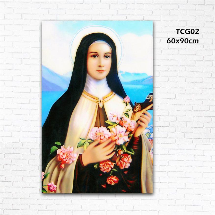 Tranh Canvas Công Giáo Đức Mẹ Và Hoa YH00127