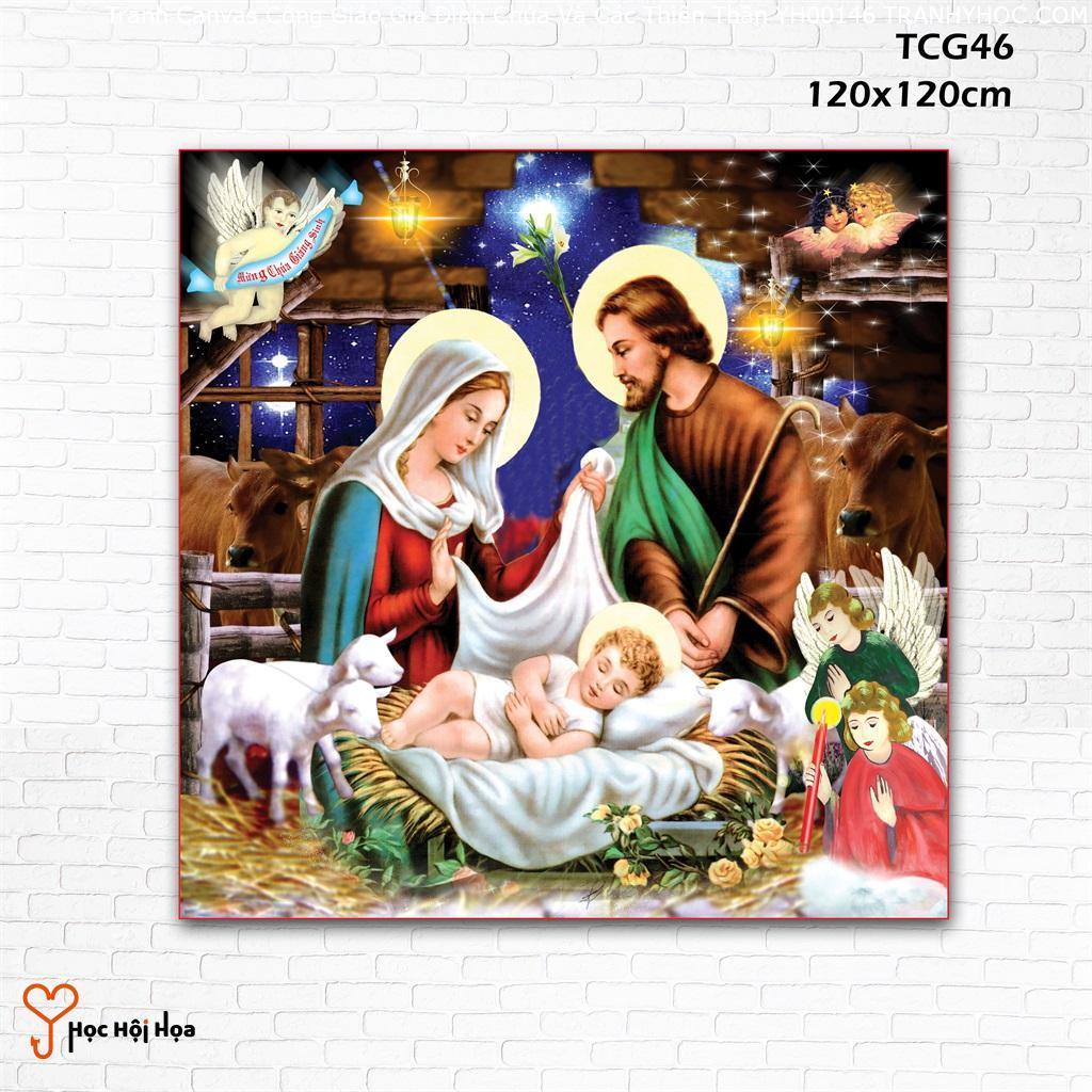 Tranh Canvas Công Giáo Gia Đình Chúa Và Các Thiên Thần YH00146