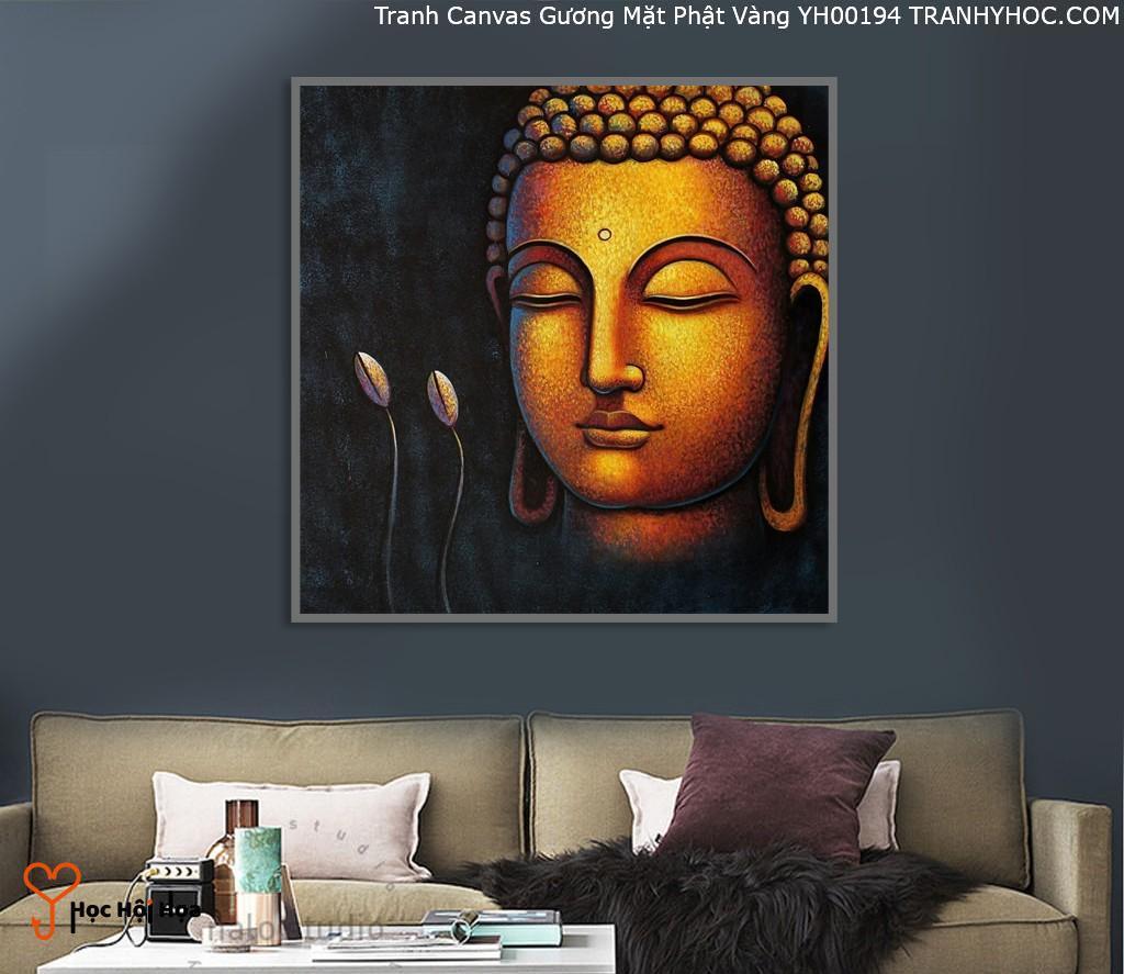 Tranh Canvas Gương Mặt Phật Vàng YH00194