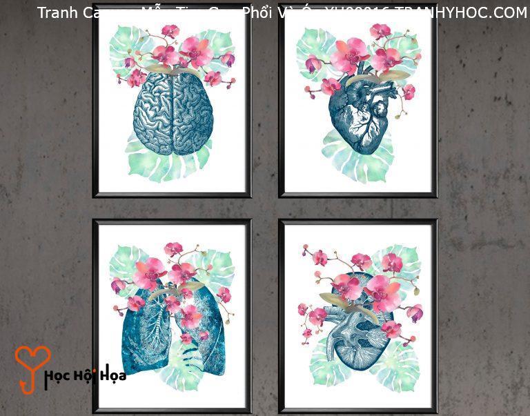 Tranh Canvas Mẫu Tim Gan Phổi Và Óc YH00016