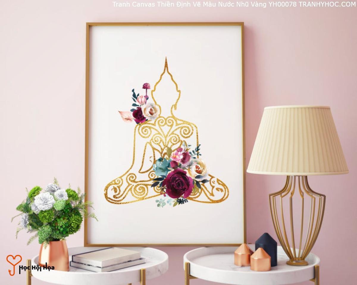 Tranh Canvas Thiền Định Vẽ Màu Nước Nhũ Vàng YH00078