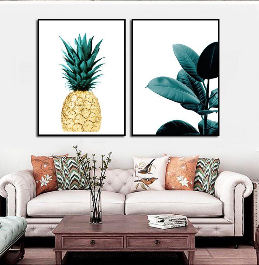 Tranh Canvas Trái Dứa Và Lá Cây Nghệ Thuật YH00225