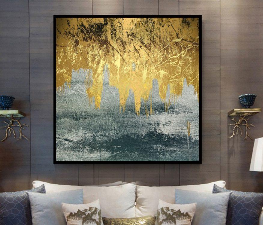 Tranh Canvas Trừu Tượng Dòng Chảy Vàng YH00296