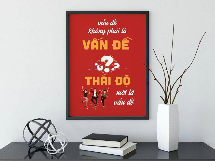 Tranh Canvas Văn Phòng Thái Độ Mới Là Vấn Đề DL014