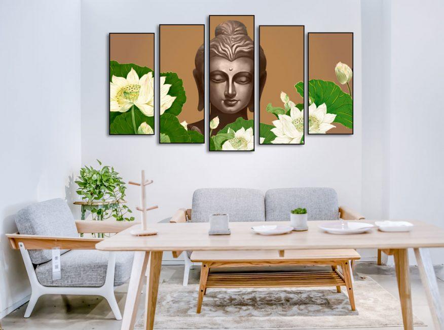 Tranh Ghép Đức Phật Và Vườn Hoa Sen YH00171