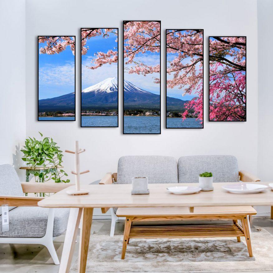 Tranh Ghép 5 Tấm Núi Phú Sĩ Nhật Bản YH00212