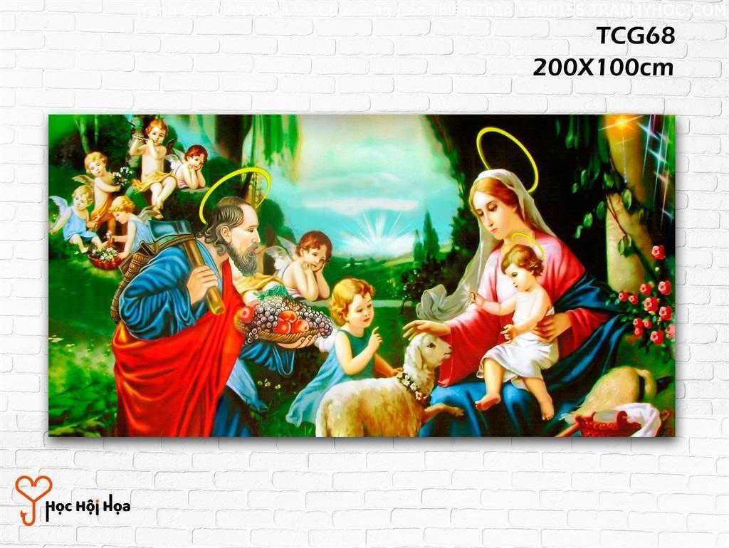Tranh Gia Đình Chúa Và Cừu Cùng Các Thiên Thần YH00155