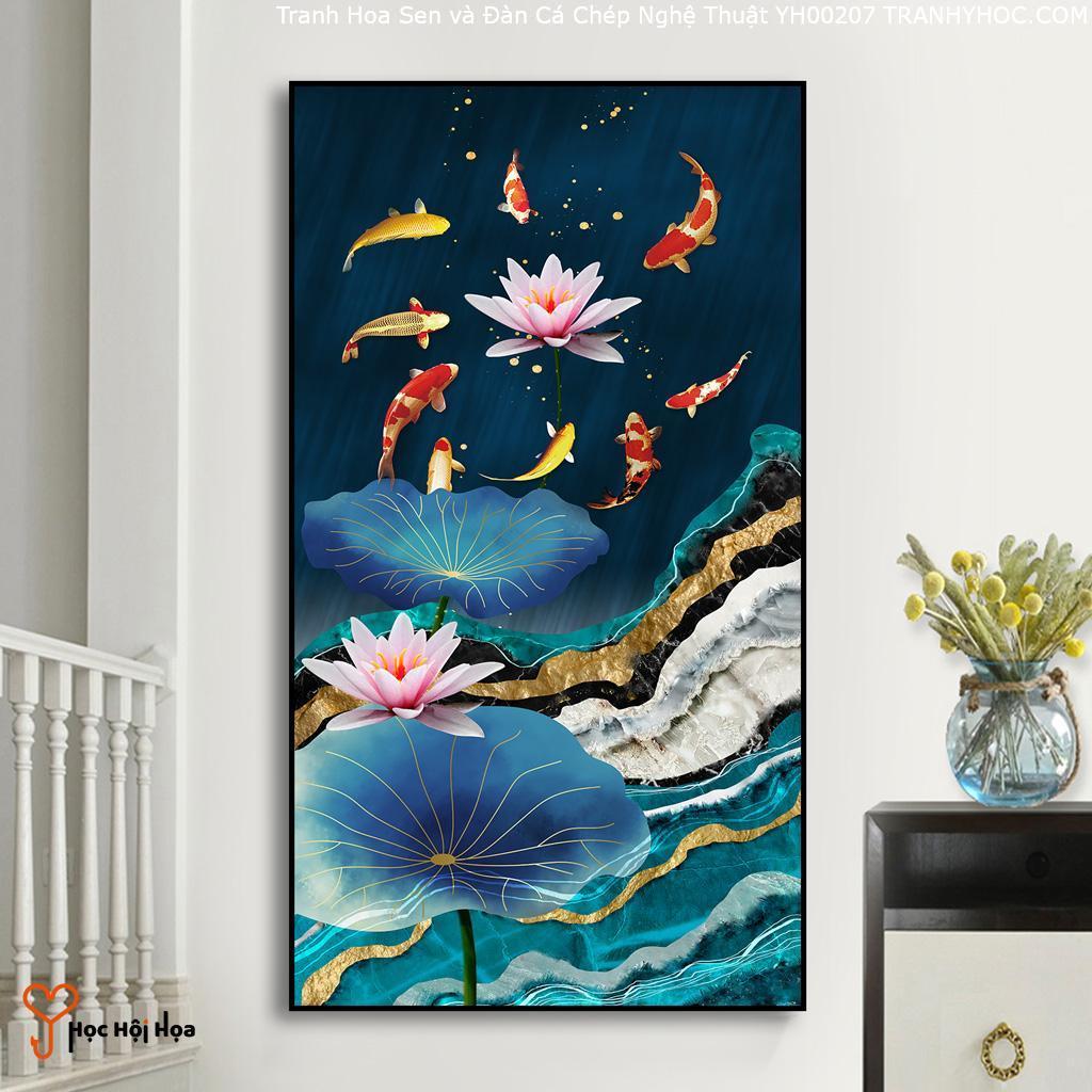 Tranh Hoa Sen và Đàn Cá Chép Nghệ Thuật YH00207