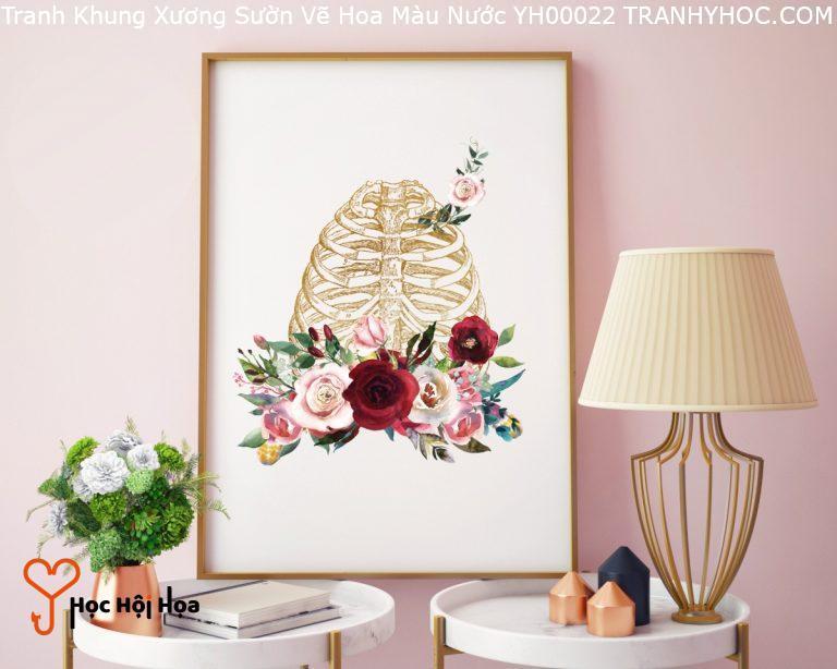 Tranh Khung Xương Sườn Vẽ Hoa Màu Nước YH00022