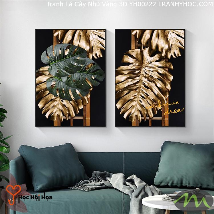 Tranh Lá Cây Nhũ Vàng 3D YH00222