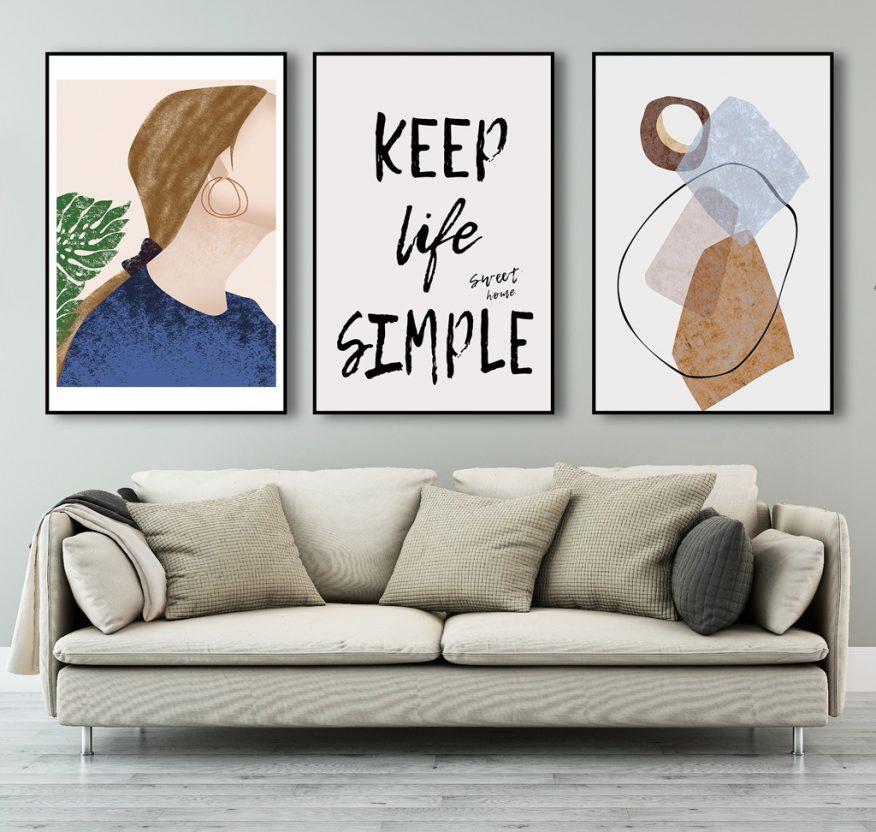 Tranh Nghệ Thuật Bắc Âu Keep Life Simple YH00214