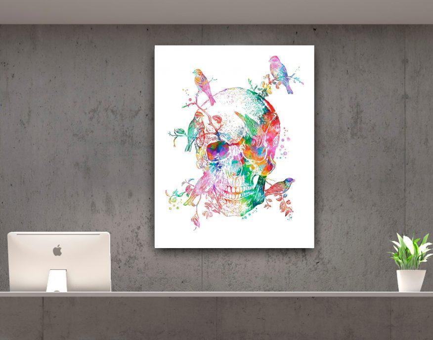 Tranh Nghệ Thuật Vẽ Sọ Và Những Chú Chim Trên Cành YH00043