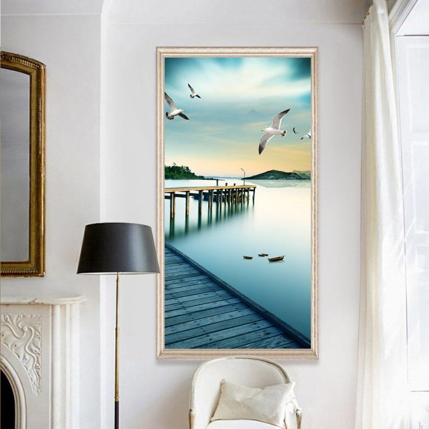 Tranh Phong Cảnh Âu Thuyền Và Đàn Chim Hải Âu YH00230