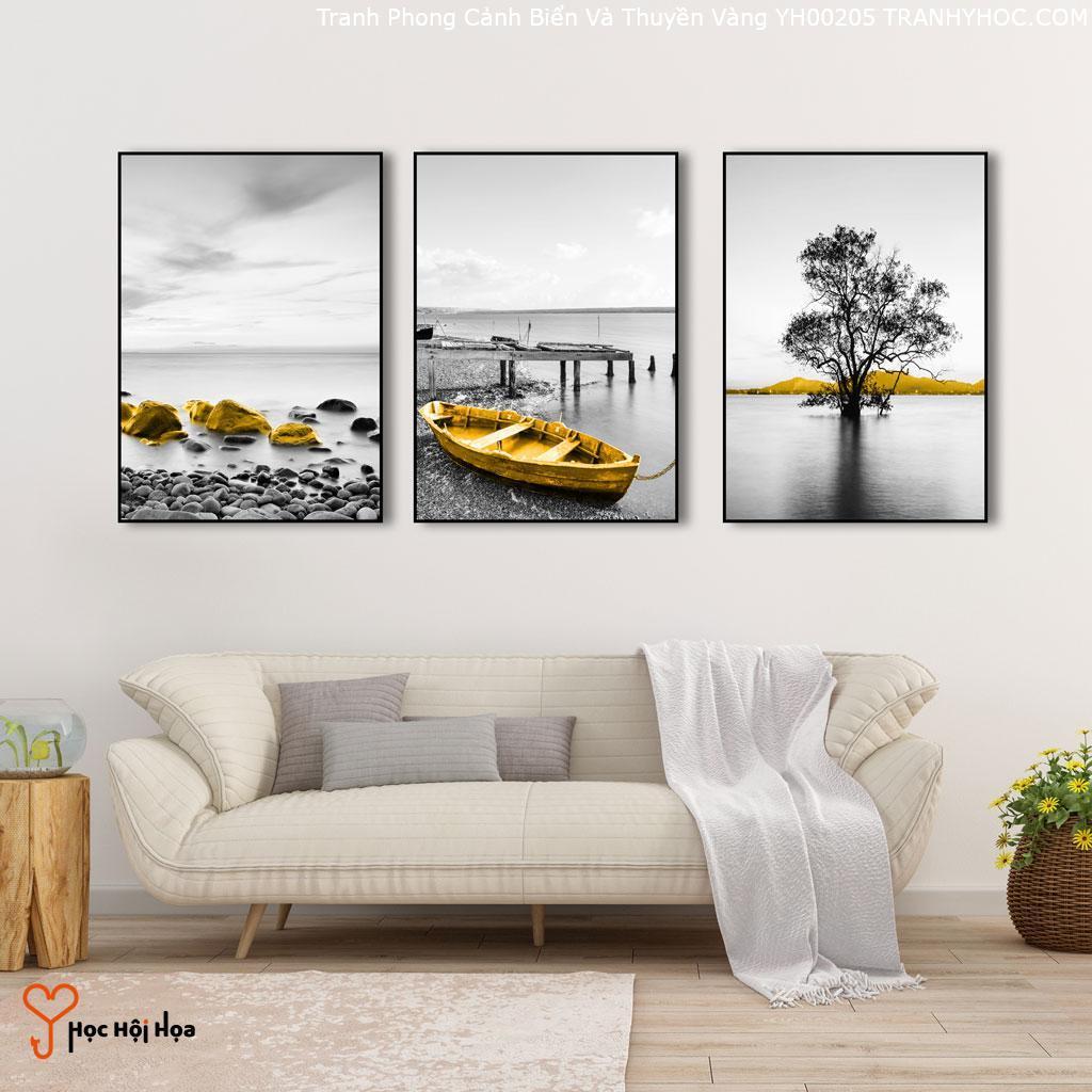Tranh Phong Cảnh Biển Và Thuyền Vàng YH00205