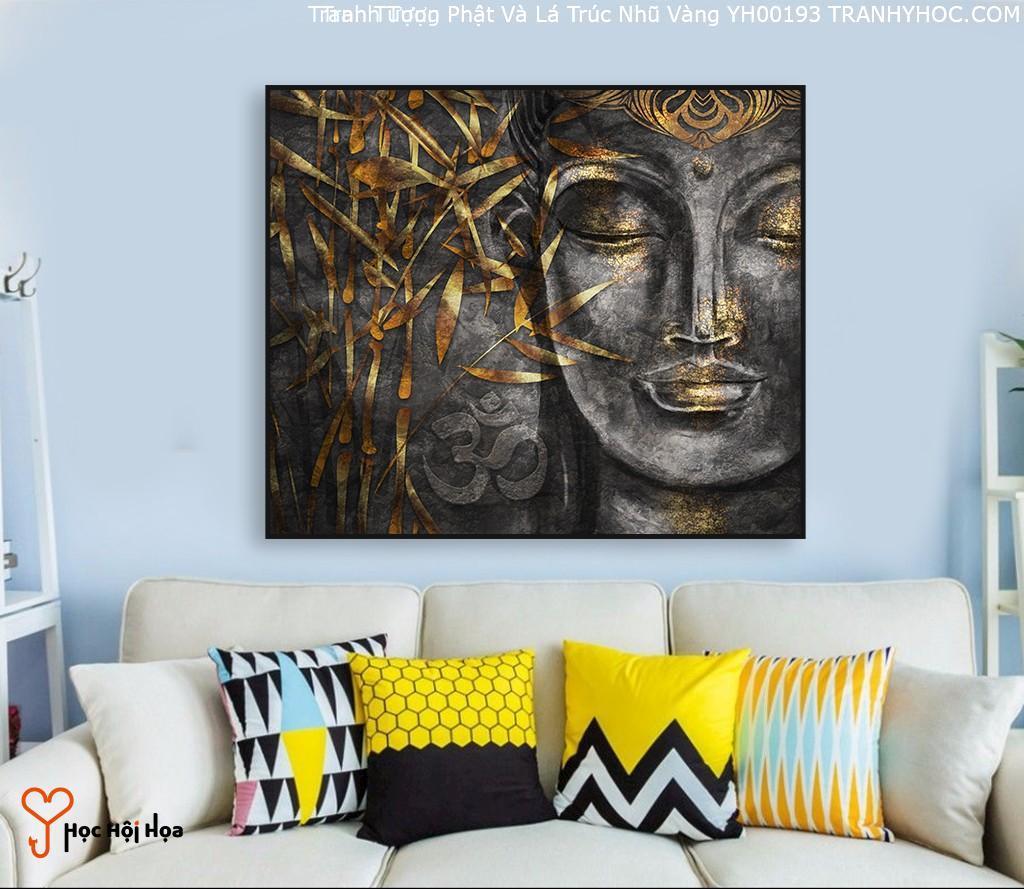 Tranh Tượng Phật Và Lá Trúc Nhũ Vàng YH00193
