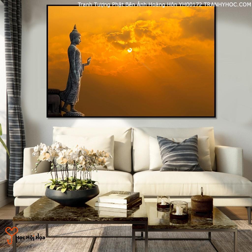 Tranh Tượng Phật Bên Ánh Hoàng Hôn YH00172