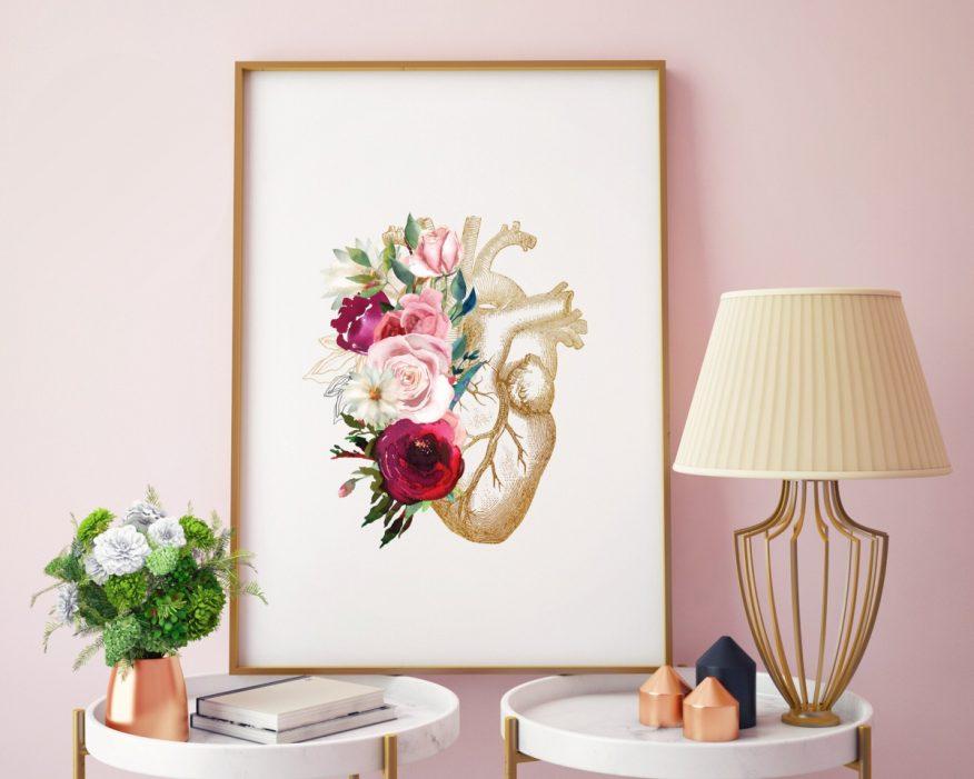 Tranh Trái Tim In Canvas Nghệ Thuật Và Hoa Mẫu Đơn YH00054