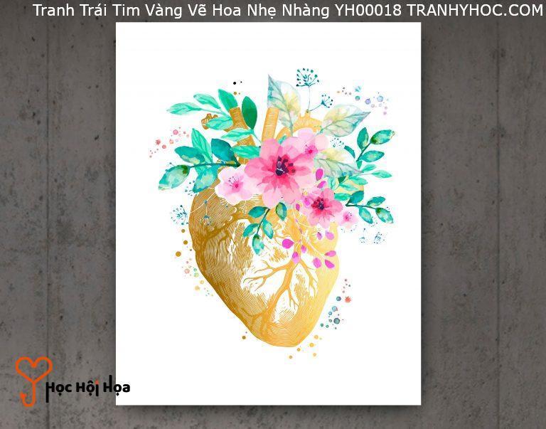 Tranh Trái Tim Vàng Vẽ Hoa Nhẹ Nhàng YH00018