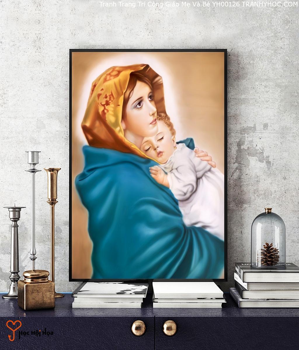 Tranh Trang Trí Công Giáo Mẹ Và Bé YH00126