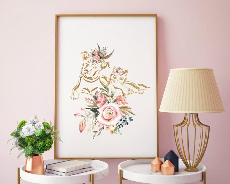 Tranh Trang Trí In Vải Canvas Chú Mèo Nhũ Vàng YH00087