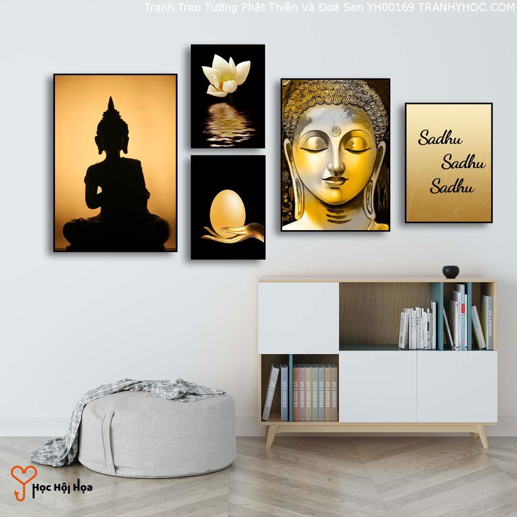 Tranh Treo Tường Phật Thiền Và Đoá Sen YH00169