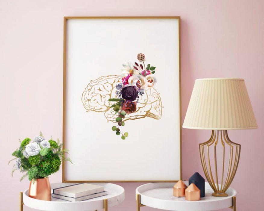 Tranh Vẽ Giải Phẫu Não Bộ Và Hoa YH00088