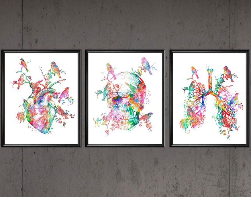 Tranh Vẽ Màu Nước In Canvas Tim Phổi Và Sọ YH00042