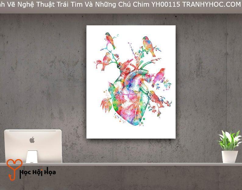 Tranh Vẽ Nghệ Thuật Trái Tim Và Những Chú Chim YH00115