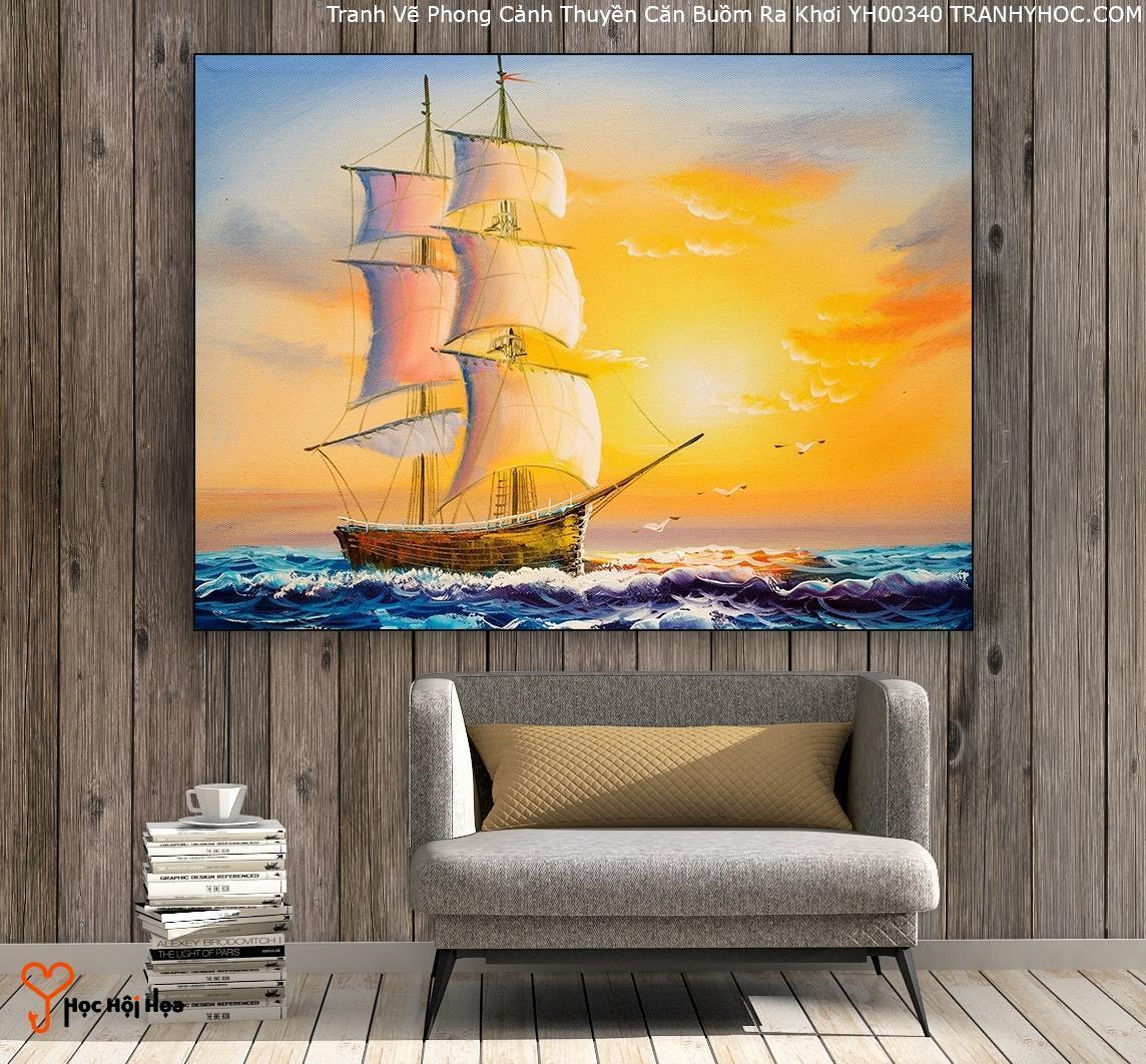 Tranh Vẽ Phong Cảnh Thuyền Căn Buồm Ra Khơi YH00340