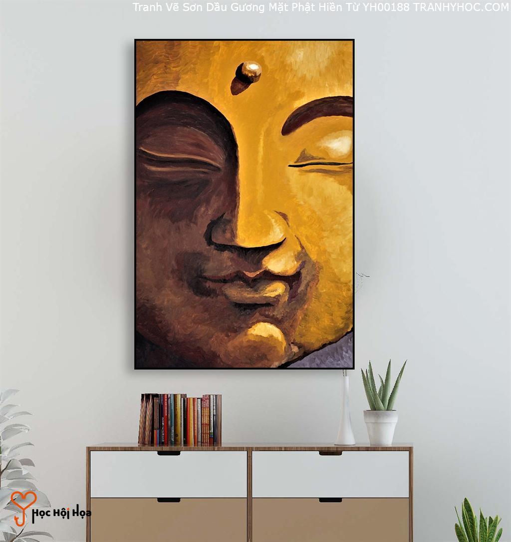 Tranh Vẽ Sơn Dầu Gương Mặt Phật Hiền Từ YH00188