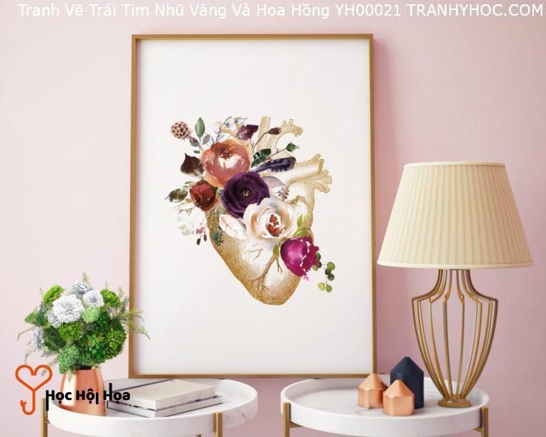 Tranh Vẽ Trái Tim Nhũ Vàng Và Hoa Hồng YH00021