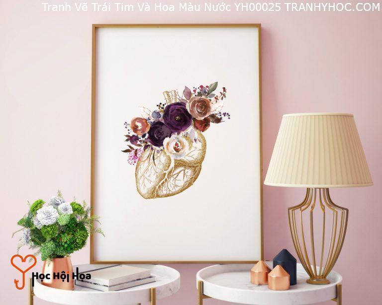 Tranh Vẽ Trái Tim Và Hoa Màu Nước YH00025